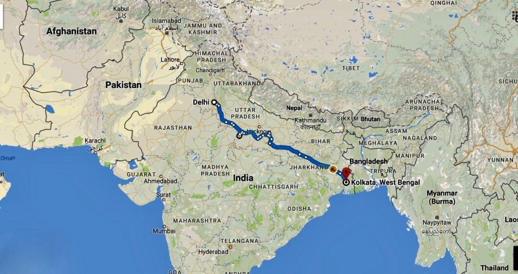 Min rute gennem Indien fra Delhi til Kolkata.