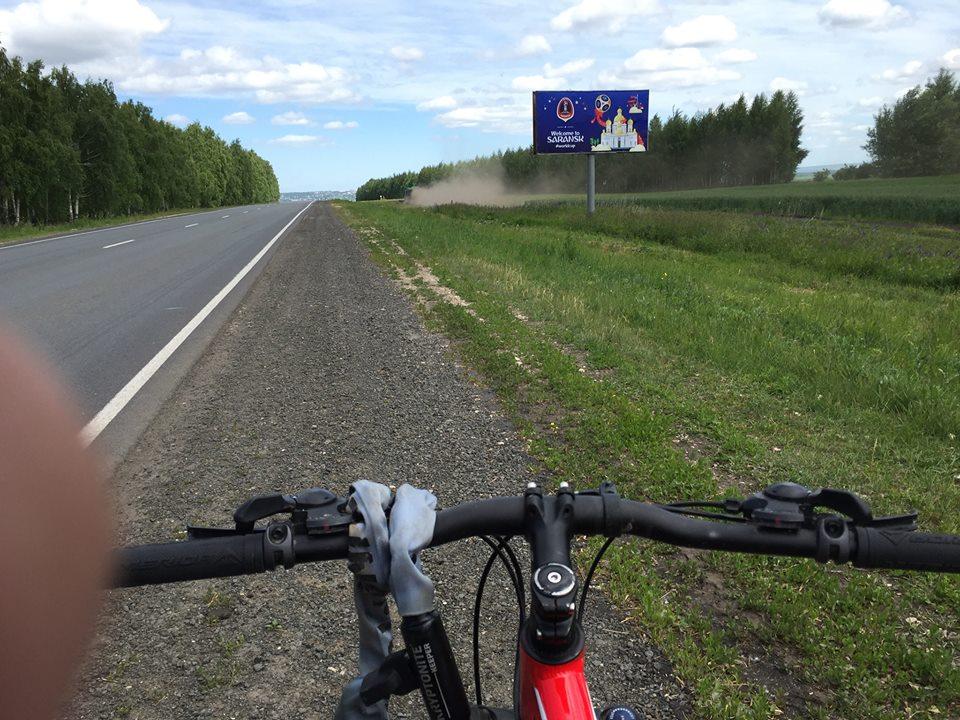 Ud over de russiske stepper med min cykel.